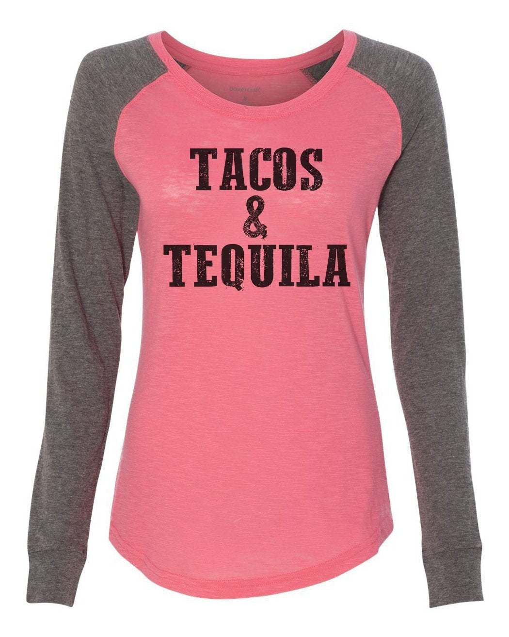 "Womens ""Tacos & Tequila"" Long Sleeve Elbow Patch Contrast Shirt-BurnoutTankTops.com"