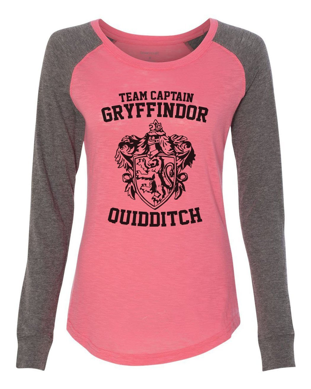 "Womens ""Team Captain Gryffindor Ouidditch"" Long Sleeve Elbow Patch Contrast Shirt-BurnoutTankTops.com"