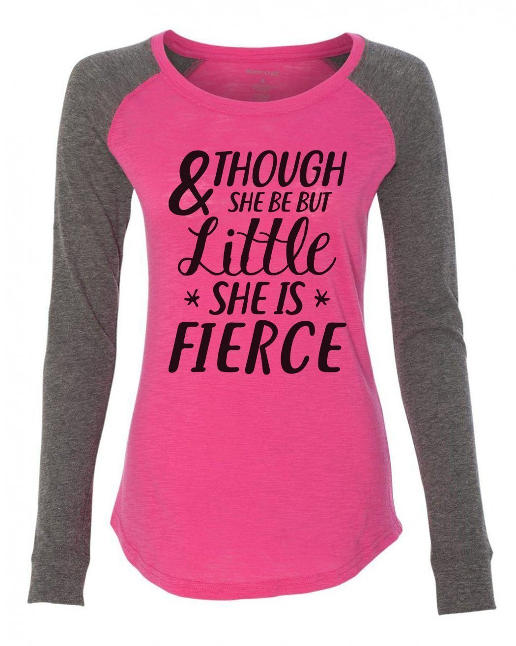 "Womens ""& Though She Be But Little She Is Fierce"" Long Sleeve Elbow Patch Contrast Shirt-BurnoutTankTops.com"