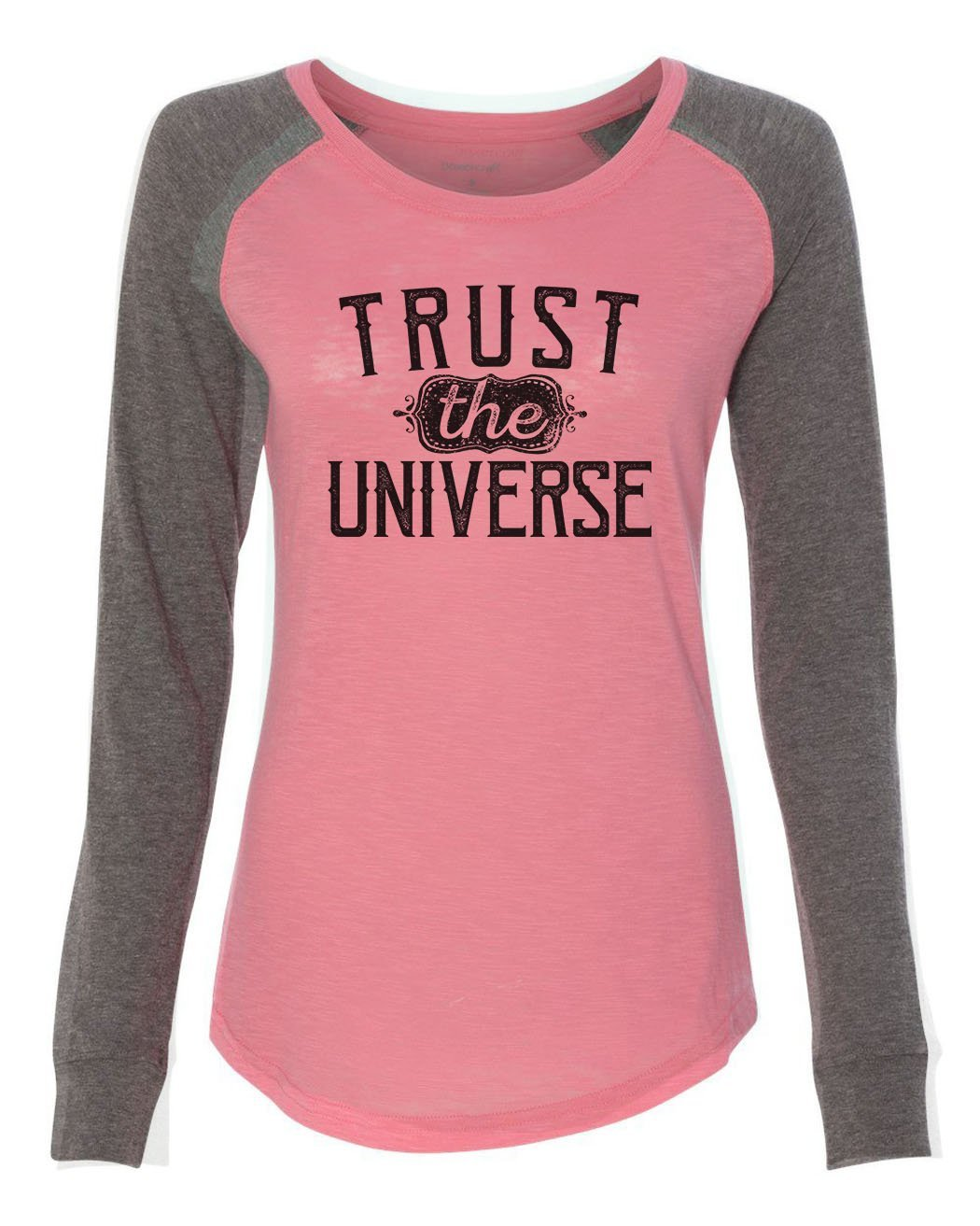 "Womens ""Trust The Universe"" Long Sleeve Elbow Patch Contrast Shirt-BurnoutTankTops.com"