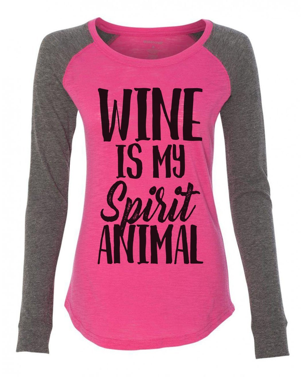 "Womens ""Wine Is My Spirit Animal"" Long Sleeve Elbow Patch Contrast Shirt-BurnoutTankTops.com"