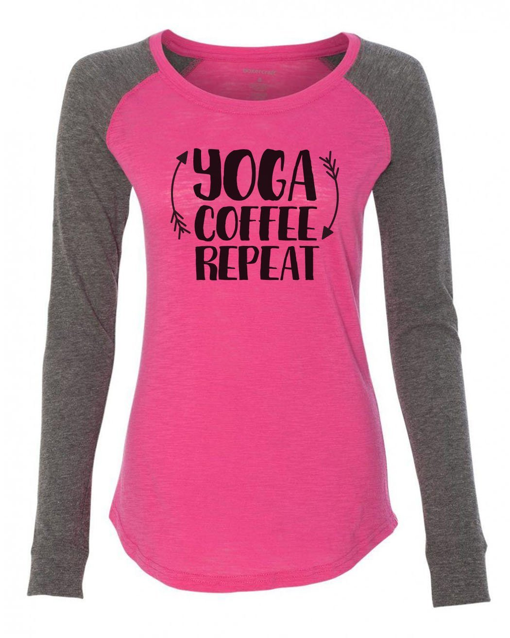 "Womens ""Yoga Coffee Repeat"" Long Sleeve Elbow Patch Contrast Shirt-BurnoutTankTops.com"