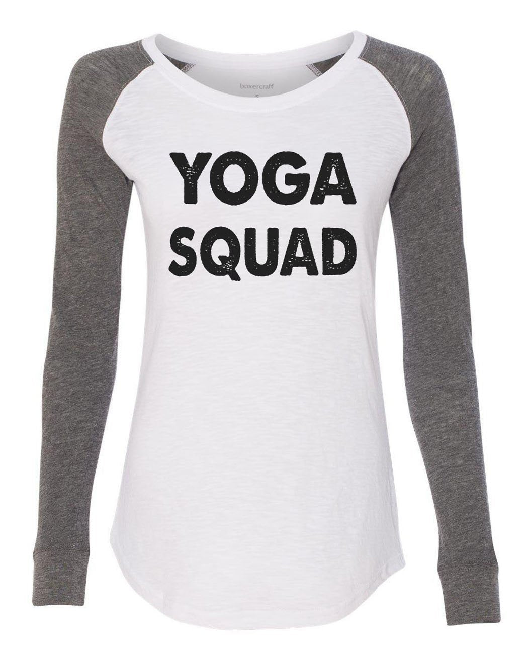 "Womens ""Yoga Squad"" Long Sleeve Elbow Patch Contrast Shirt-BurnoutTankTops.com"
