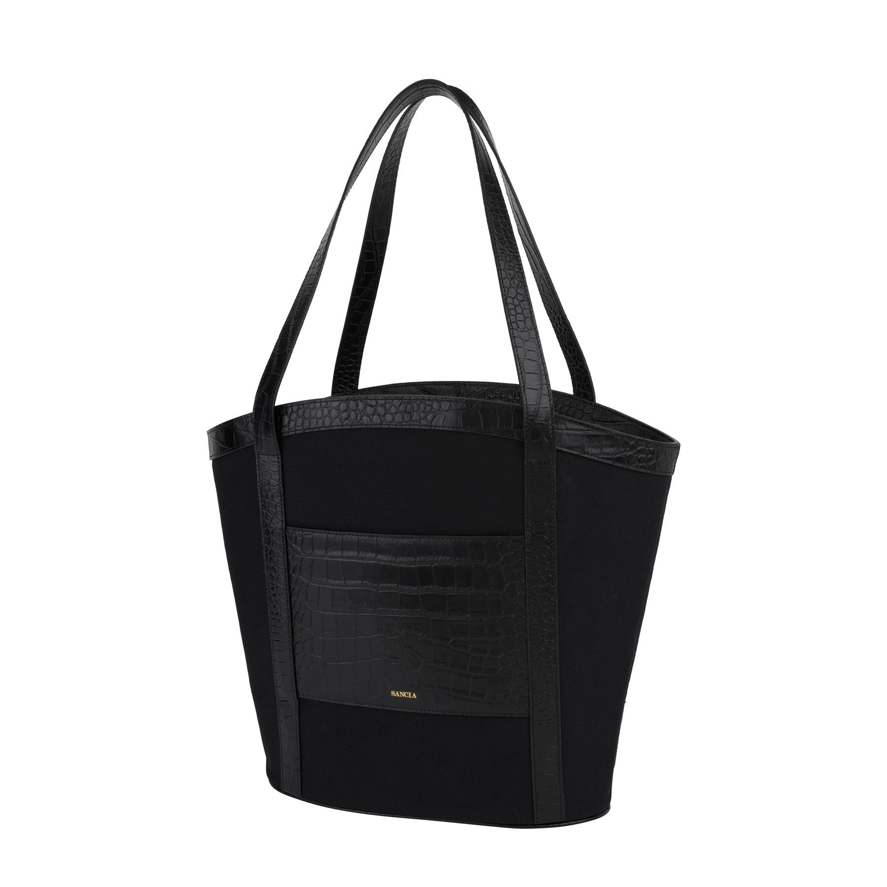 The Minka Tote Black Croc