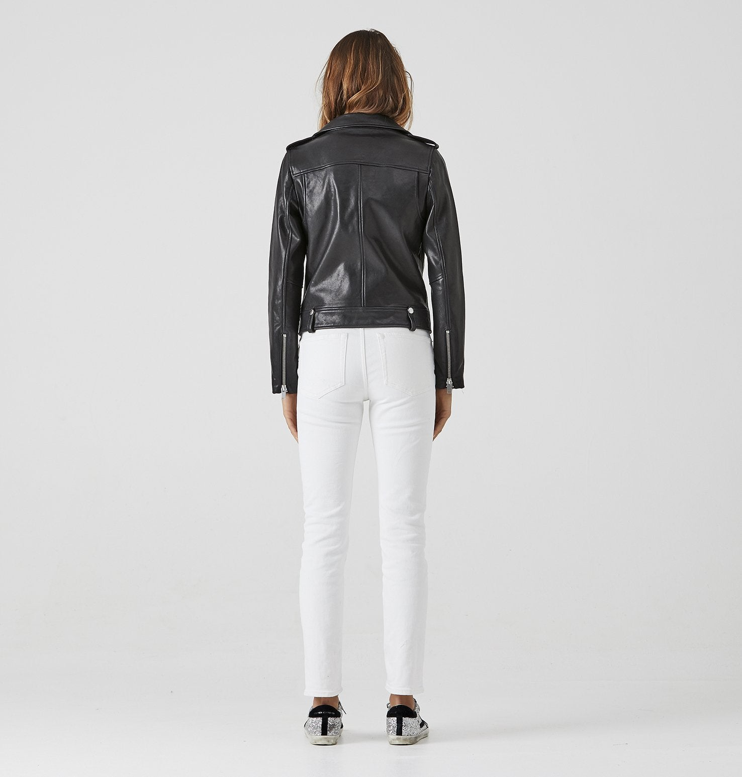 Sustainable Vegetable Tanned Leather Jacket Black With Silver Hardware