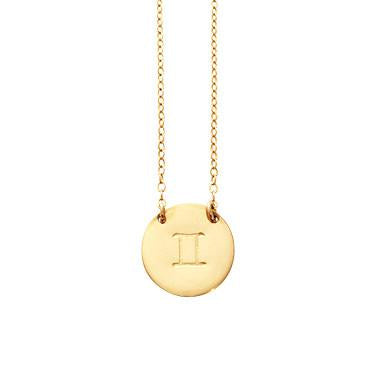 Zodiac Disk Necklaces Gold Filled