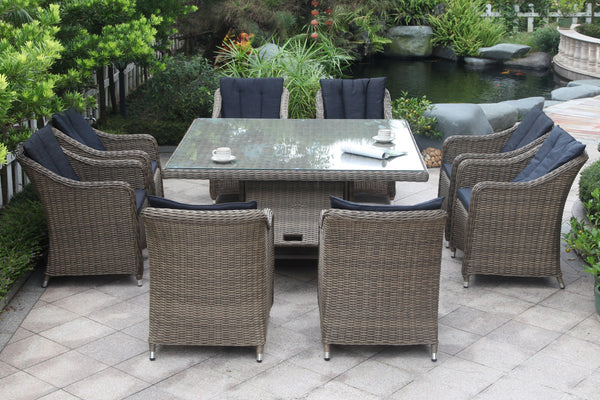 Outdoor dining setting with storage