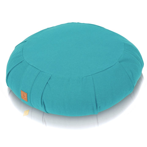 Turquoise Meditation Cushion – Round Buckwheat Filled Zafu | 100% Organic GOTS Cotton