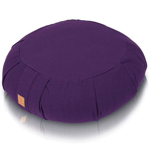 Purple Zafu Meditation Cushion – Round  | Zippered Organic Cotton Cover | Machine Washable