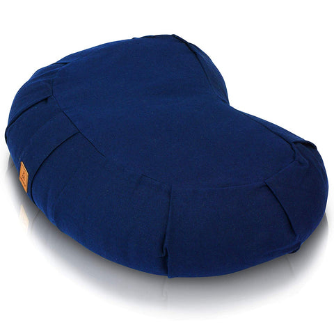 Therapeutic Meditation Cushion | Buckwheat Filled Crescent Shaped, Navy Colored Organic Cotton Cover