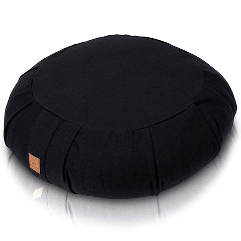 Zafu Meditation Cushion – Round Buckwheat Filled Yoga Pillow - Black