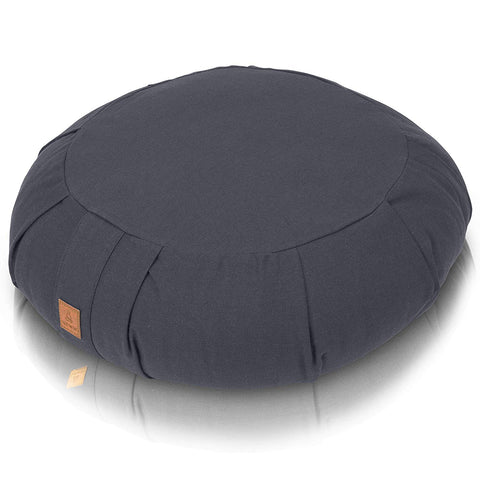 Round Buckwheat Filled Meditation Cushion - Comfortable, Supportive & Durable Organic Cotton - Gray