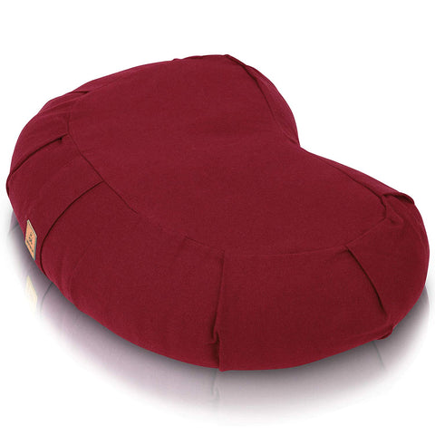 Buckwheat Filled Crescent Yoga Pillow | Ergonomic Design Relieves Stress for Total Comfort - Red