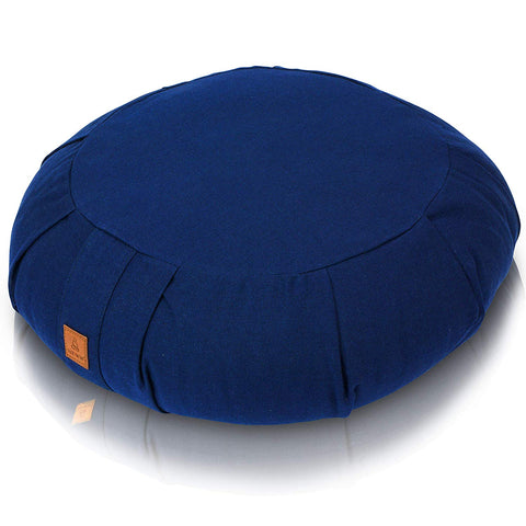 Navy Meditation Cushion – Round Buckwheat Filled Zafu | 100% Organic & GOTS Certified