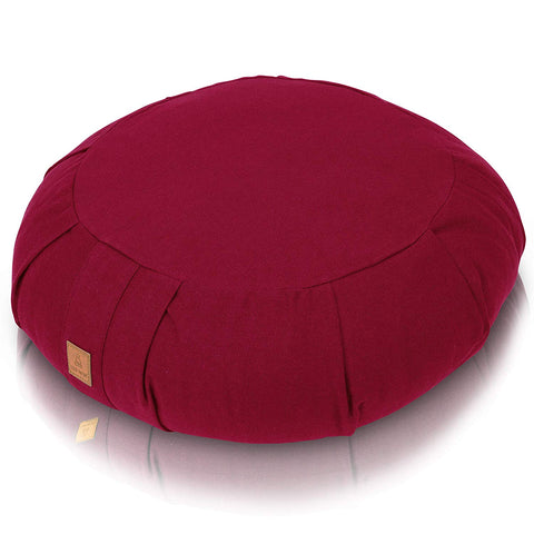 Red Therapeutic Buckwheat Meditation Zafu Cushion | Washable Organic Cotton Removable Cover