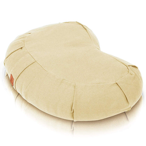 Natural Colored Buckwheat Crescent Meditation Pillow | Therapeutic Design Relieves Stress For Total Comfort