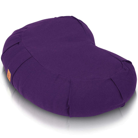 Crescent Meditation Cushion – Buckwheat Filled, Organic Cotton & GOTS Certified - Purple