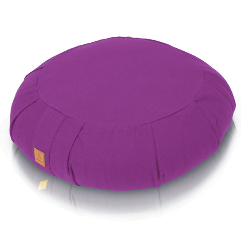 Lilac Meditation Cushion – Round Buckwheat Filled Zafu | 100% Organic GOTS Cotton