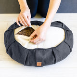 Gray Buckwheat Crescent Half Moon Meditation Cushion | Zen Ergonomic Design Floor Pillow