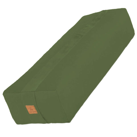 Olive Green Yoga Bolster – Rectangular Buckwheat Filled Cushion | 100% Organic GOTS Cotton
