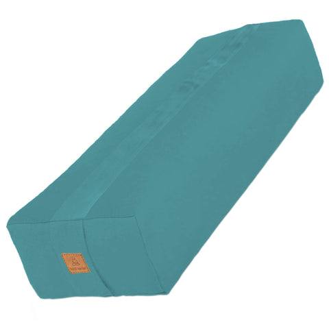 Turquoise Yoga Bolster – Rectangular Buckwheat Filled Cushion | 100% Organic GOTS Cotton