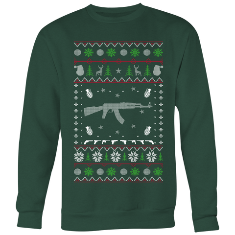 AK47 Ugly Christmas Sweater Style Printed- Sweatshirt & Long Sleeve Tee