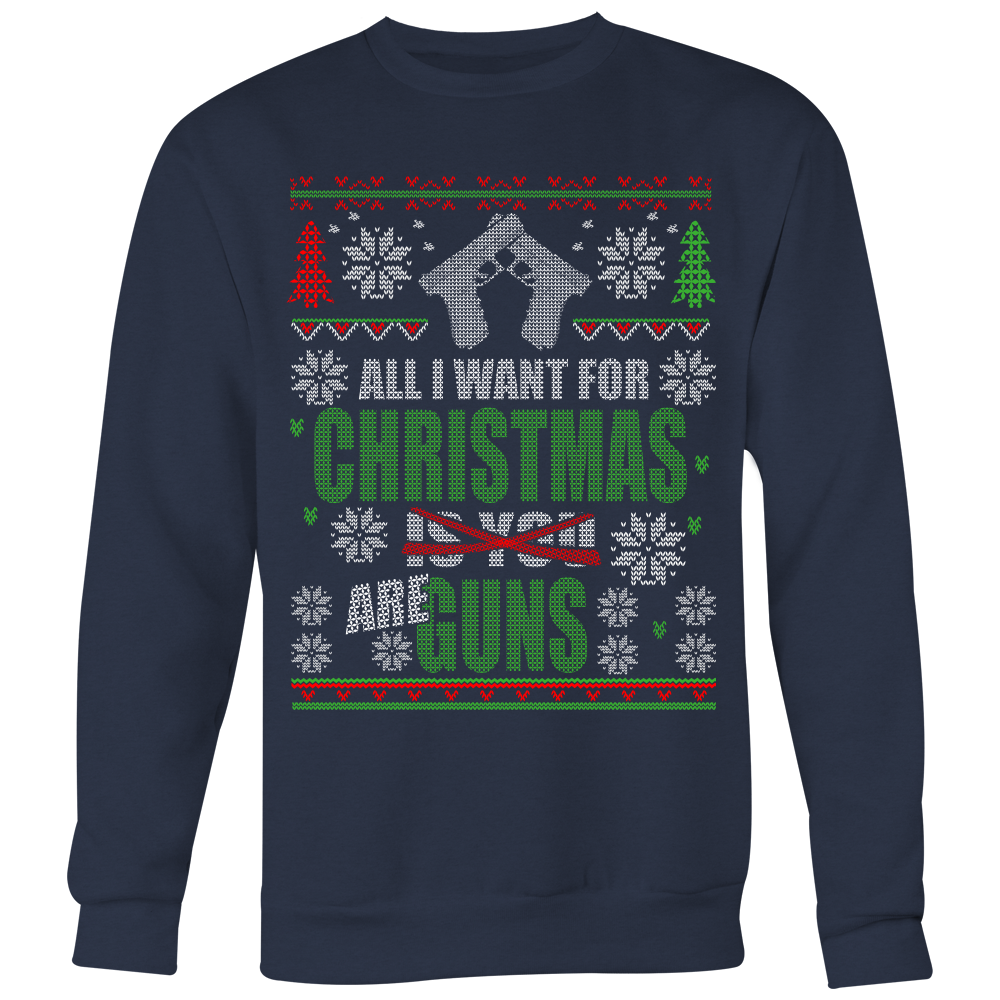 Guns Ugly Christmas Sweater Style Printed- Sweatshirt & Long ...