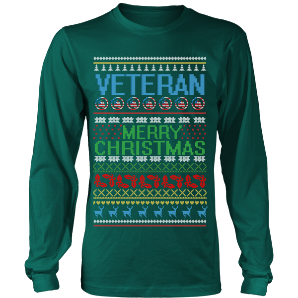 Veteran Ugly Christmas Sweater Style Printed- Sweatshirt & Long Sleeve Tee