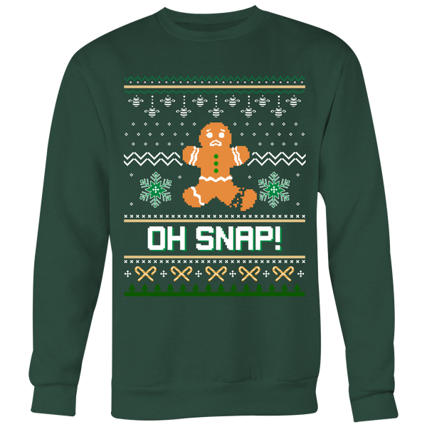 Oh Snap Ugly Christmas Sweater Style Printed- Sweatshirt & Long Sleeve Tee