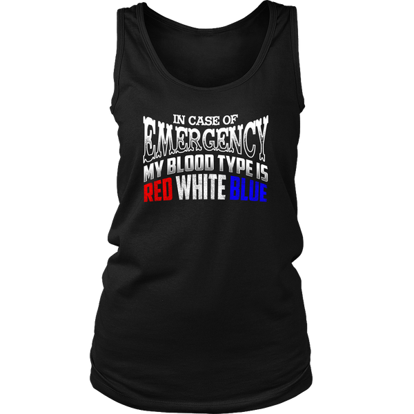 Blood Type Red White Blue- Shirts, Long Sleeve, Hoodie, Tanks