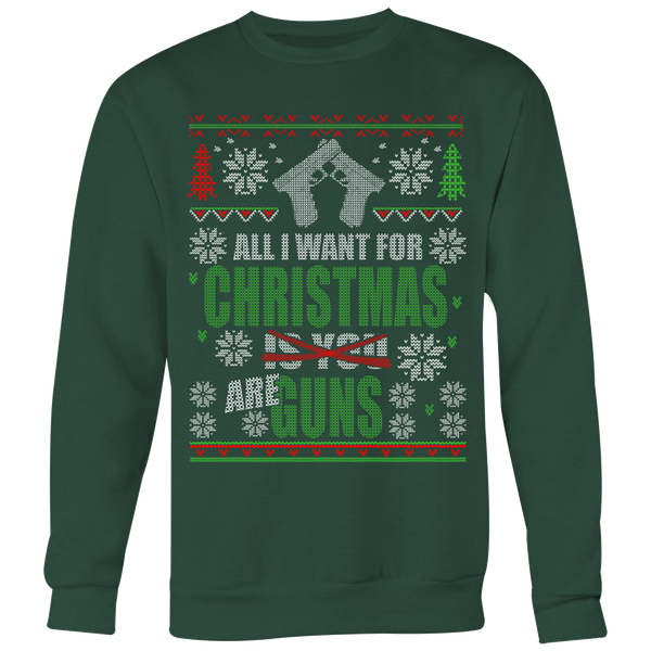 Guns Ugly Christmas Sweater Style Printed- Sweatshirt & Long Sleeve Tee