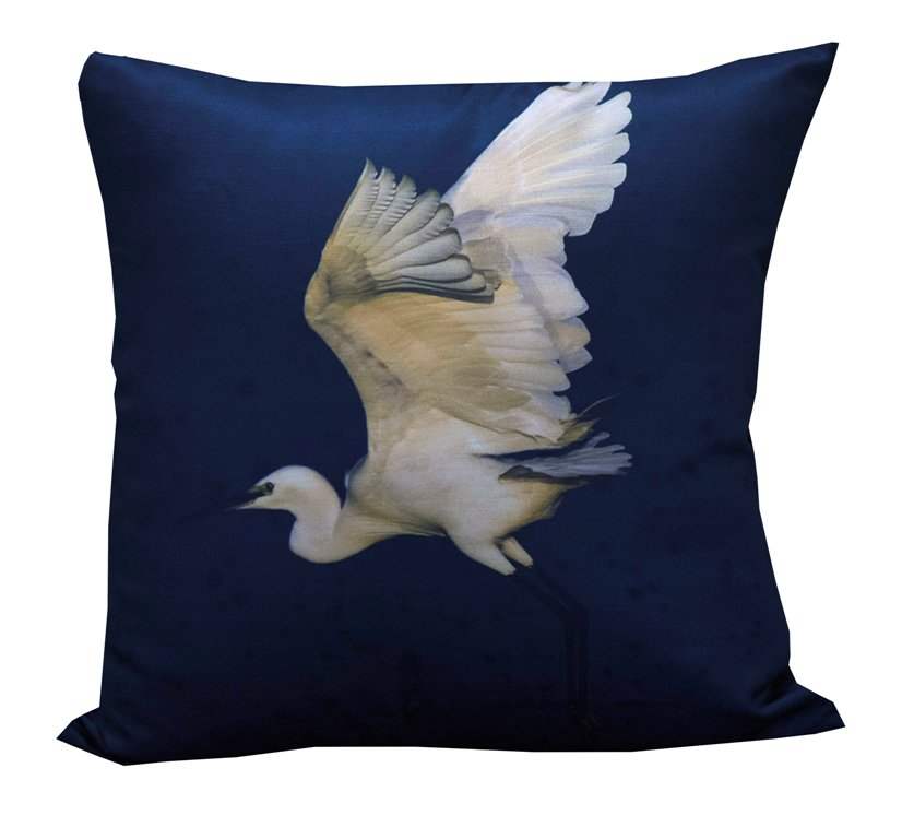 Egret taking off cushion cover