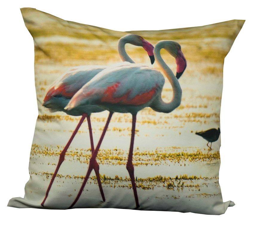 Flamingo pair cushion cover