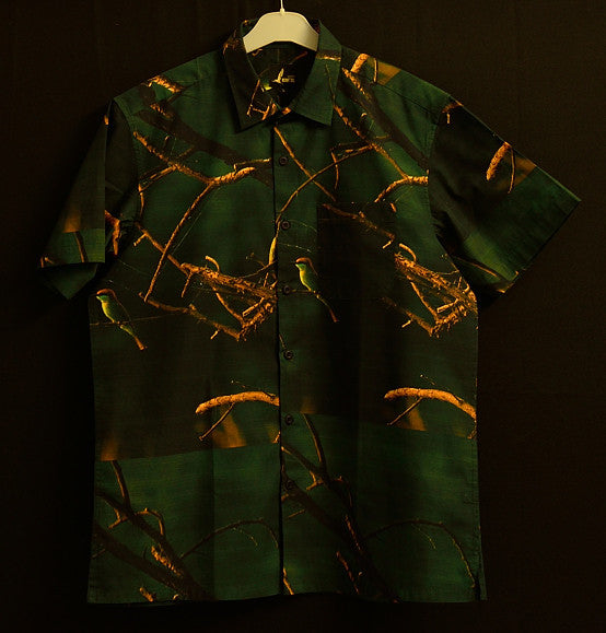 BEE EATERS  IN A  FOREST SHIRT FOR MEN