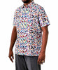 Abstract Pattern of Tropical colours: Shirt in Linen - Cotton