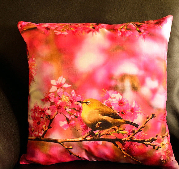 Cherry Blossom with White Eye No. 1 Cushion covers (16 in.-40 cm. or 18 in.-45 cm. size cushions)