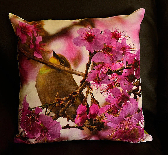 Cherry Blossom with White Eye No. 3 Cushion covers (16 in.-40 cm. or 18 in.-45 cm. size cushions)