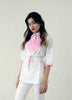 White cotton retro top with Pink pintuck
