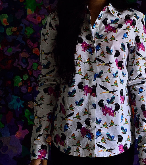 Cotton Shirt with multi colour bird prints