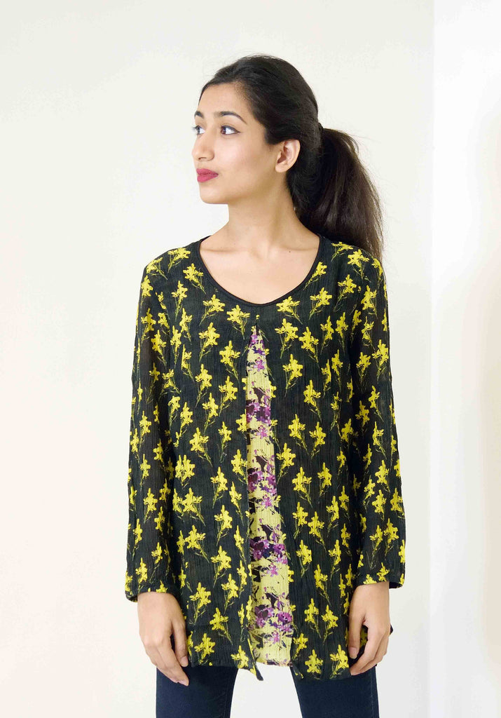 Double layer Mustard top with purple blossoms