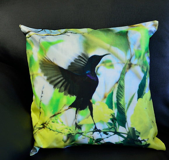 SUNBIRD WITH YELLOW FLOWERS CUSHION COVERS