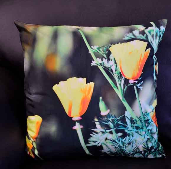 YELLOW POPPY FLOWER CUSHION COVERS