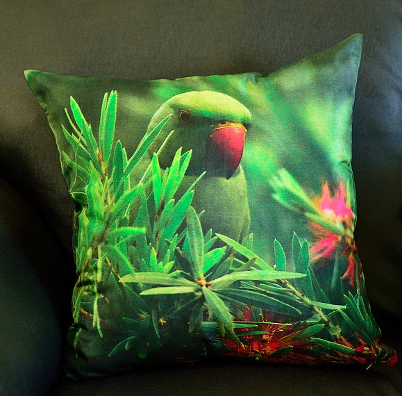 The Rose Ringed Parakeet cushion cover