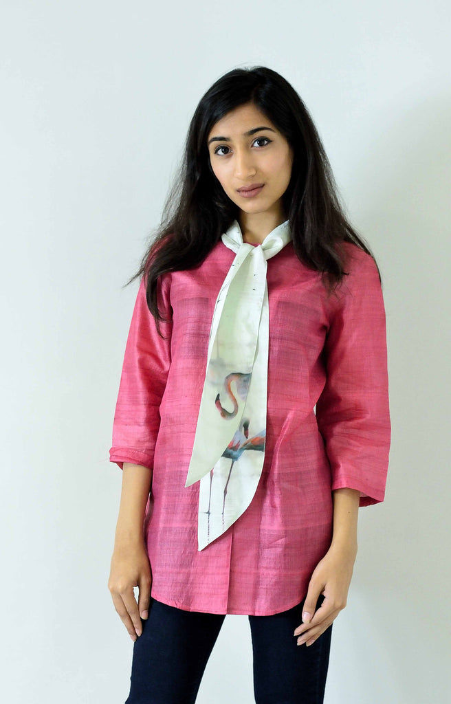 Pink Silk  Top with attached bow