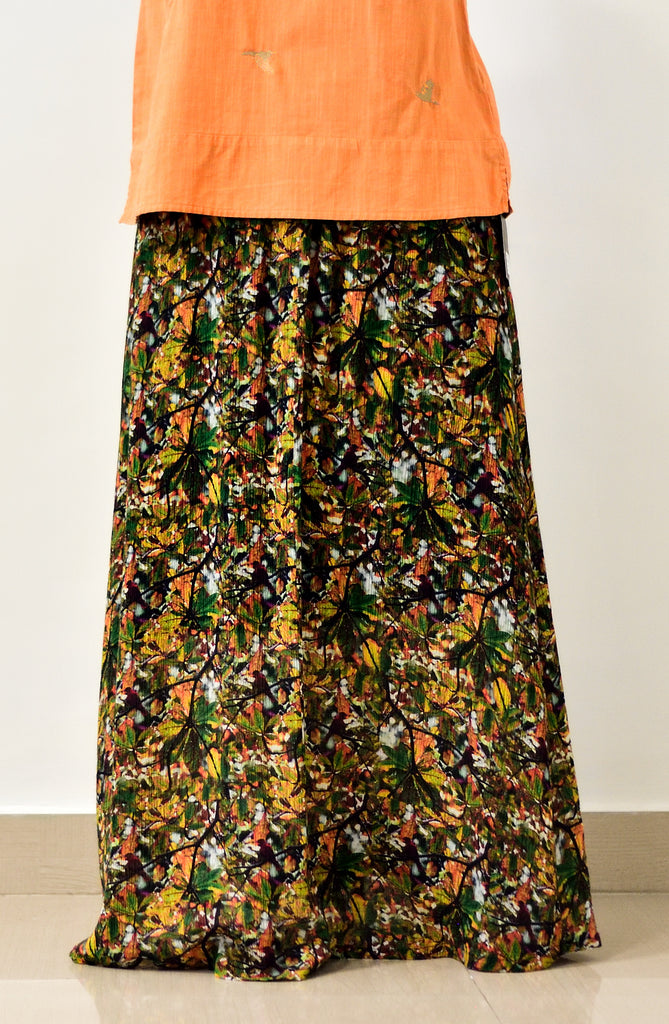 Almond tree in autumn with Orioles -  full skirt for women