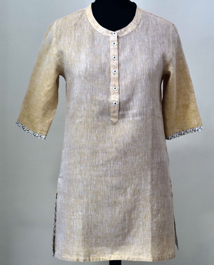 Beige / Light Brown Linen Tunic