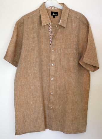 Light Brown Half Sleeve Shirt in Pure Linen