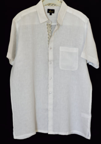 White Half Sleeve casual shirt for men in Pure Linen