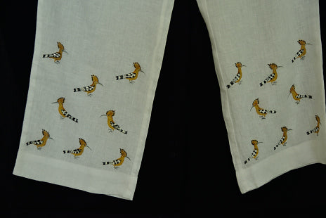 Hand painted Linen Pant with hand painted borders - Hoopoe