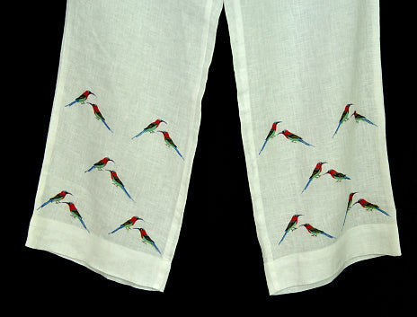 Linen pants for women with hand painted borders - Crimson Sunbird
